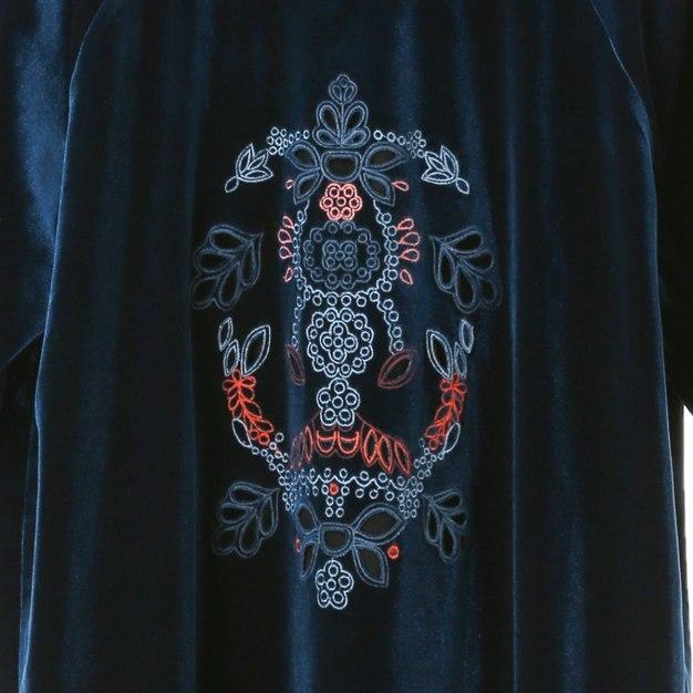 Blue Round Neck Sleeve 3/4 Length Standard Women's Dress