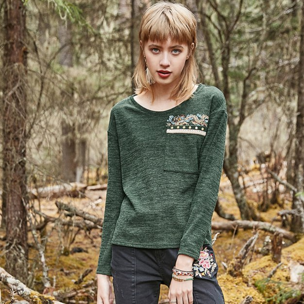 Green Round Neck Long Sleeve Fitted Women's T-Shirt