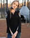 Black V Neck Cropped Sleeve Standard Women's T-Shirt
