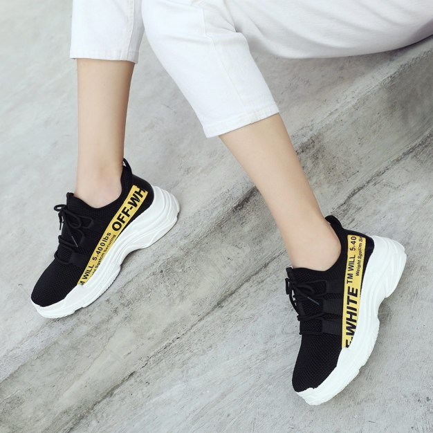 Yellow Round Head Flat Women's Sport Shoes