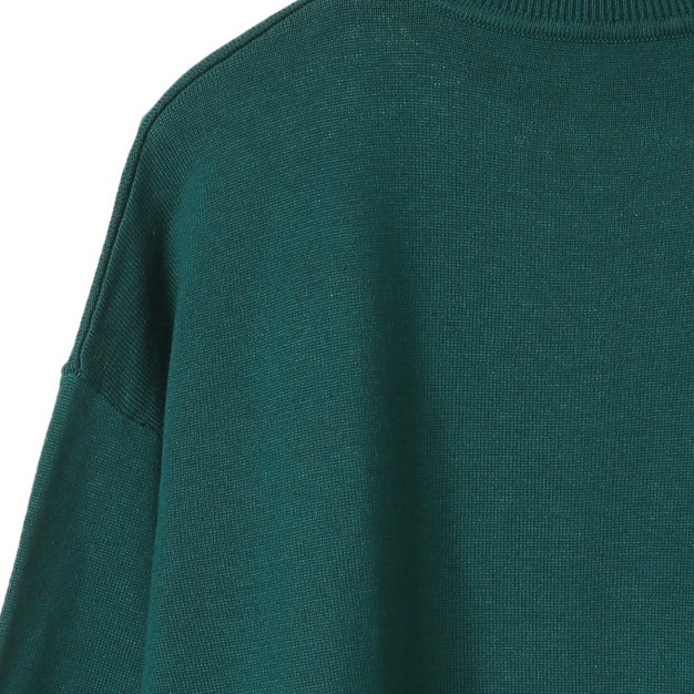 Green Round Neck Elastic Long Sleeve Standard Women's Knitwear