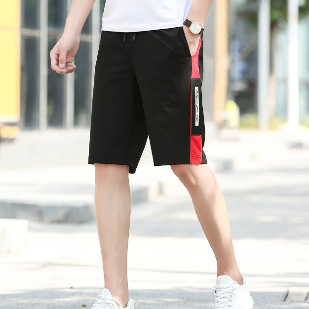 Red Drawstring Inelastic Loose CroppedPants Men's Pants