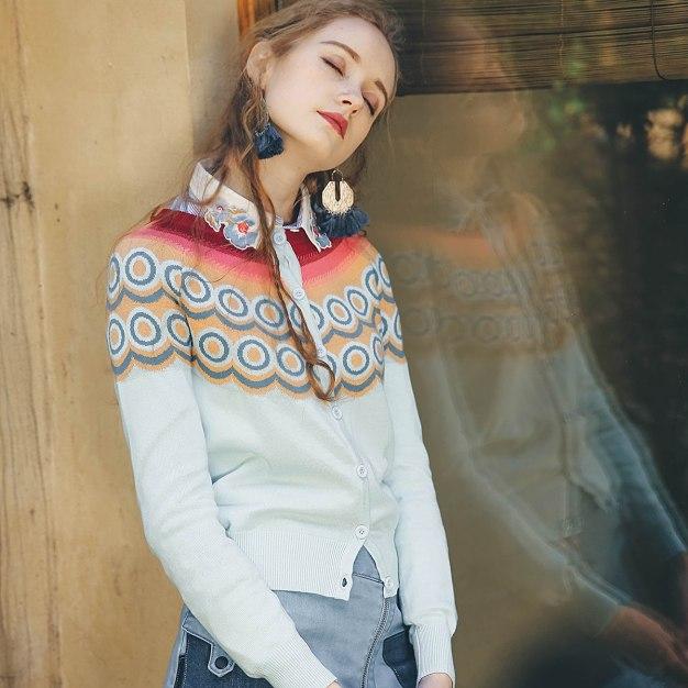 Blue Round Neck Single Breasted Long Sleeve Women's Knitwear