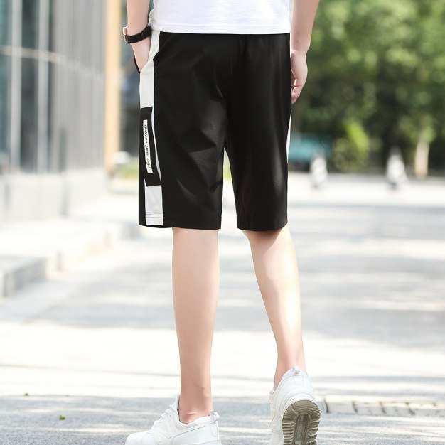 White Drawstring Inelastic Loose Cropped Pants Men's Pants