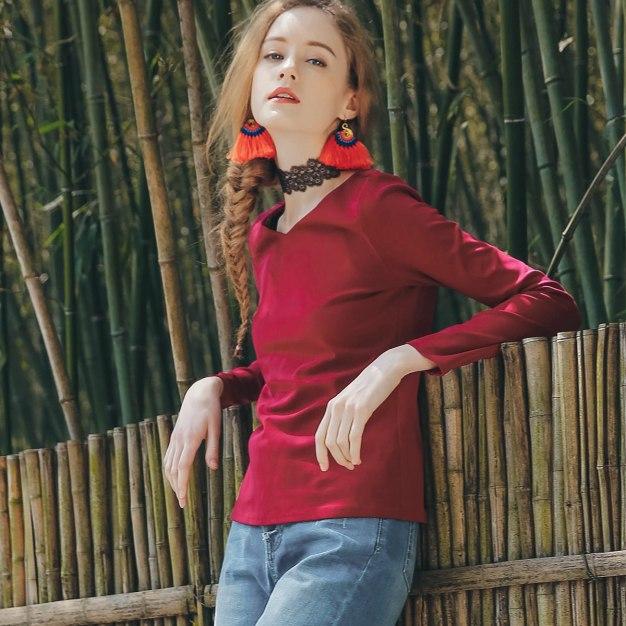 Red Plain V Neck Long Sleeve Standard Women's T-Shirt