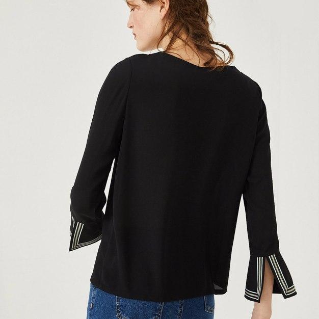 Black Plain V Neck Elastic Long Sleeve Standard Women's Shirt