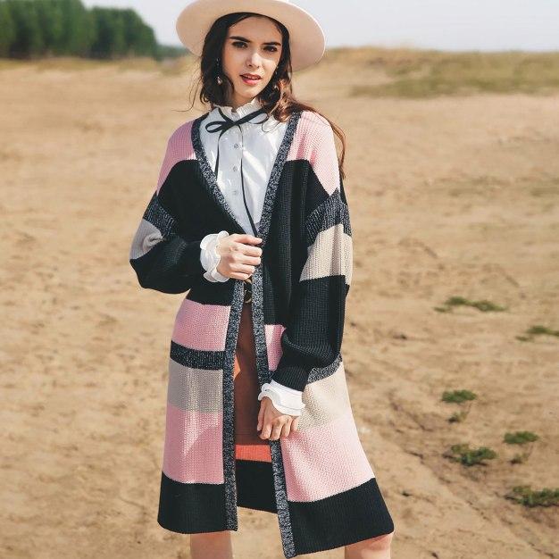 Pink Contrast Color V Neck Elastic Long Sleeve Women's Knitwear