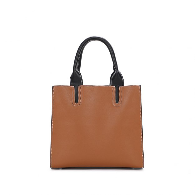 Brown Pvc Bucket Bag Big Women's Tote