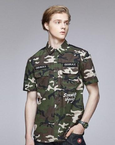 Green Camouflage Pointed Collar Standard Men's Shirt