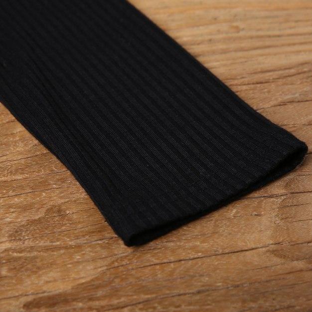 Black V Neck Long Sleeve Fitted Women's T-Shirt