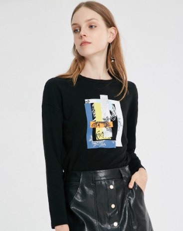 Black Round Neck Long Sleeve Loose Women's T-Shirt