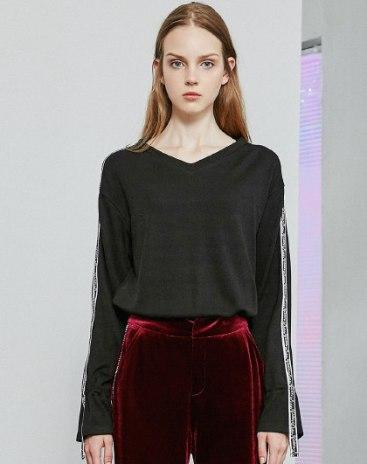 Black V Neck Long Sleeve Loose Women's Sweatshirt