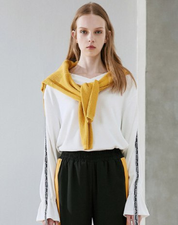 White V Neck Long Sleeve Loose Women's Sweatshirt