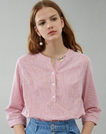 Stripes V Neck 3/4 Sleeve Loose Women's Shirt