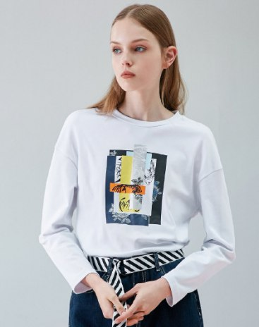 White Round Neck Long Sleeve Loose Women's T-Shirt