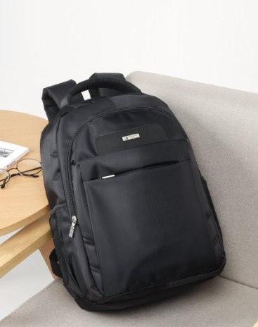 Black Plain Big Men's Backpack