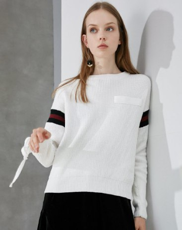White Round Neck Long Sleeve Loose Women's Sweater