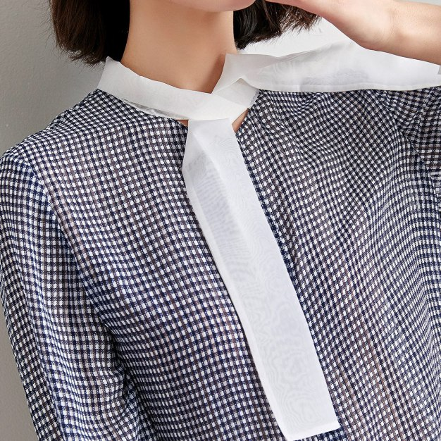 Blue Strappy Neck Single Breasted Long Sleeve Women's Shirt