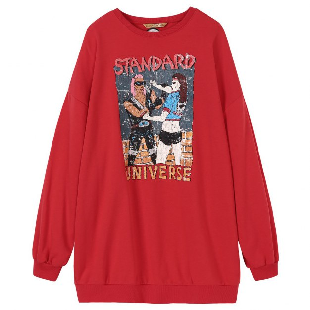 Round Neck Long Sleeve Loose Women's Sweatshirt