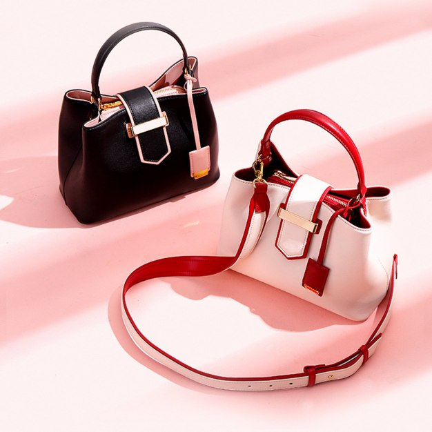 Black Plain Cowhide Leather Bucket Bag Big Women's Tote