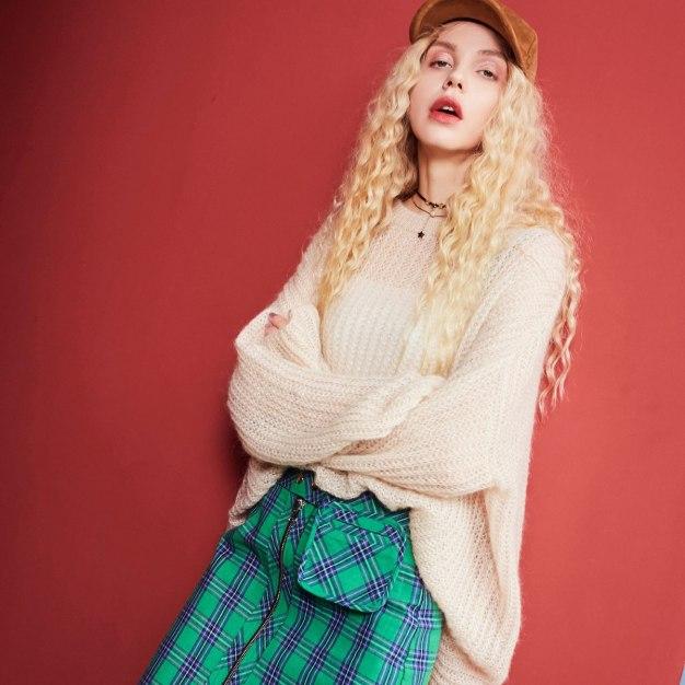 Plain Round Neck Long Sleeve Loose Women's Knitwear