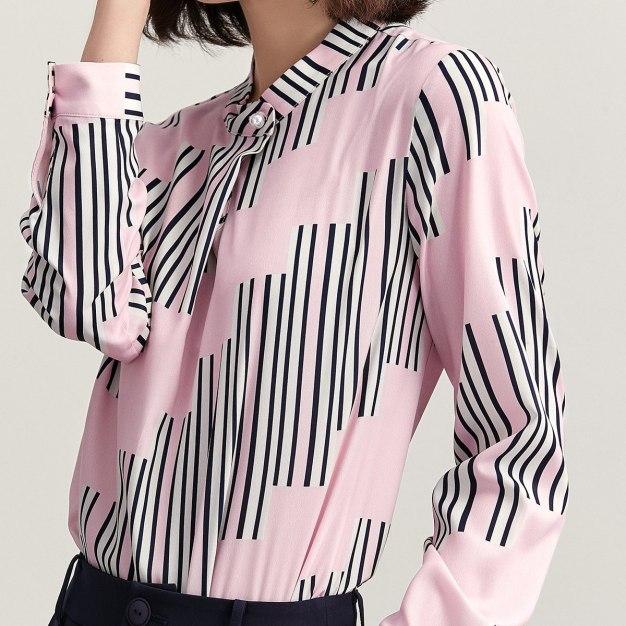 Stripes Round Neck Long Sleeve Women's Shirt