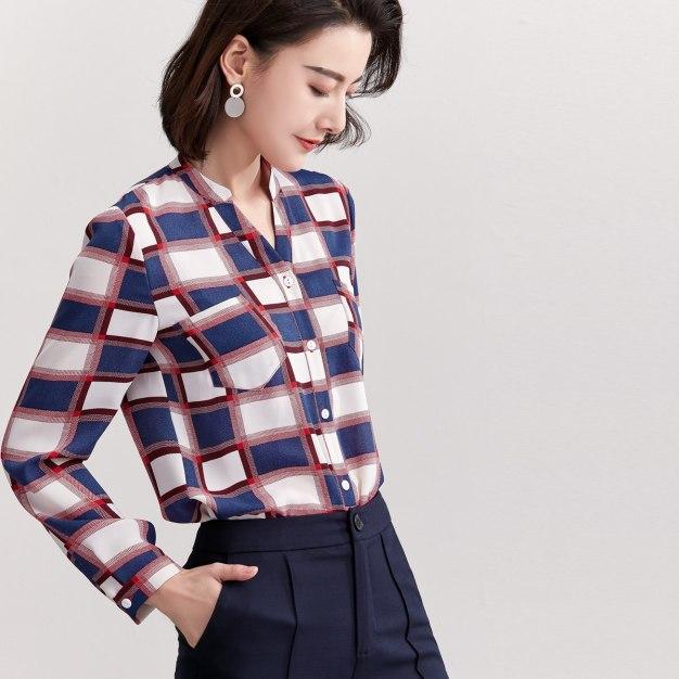 V Neck Single Breasted Long Sleeve Loose Women's Shirt