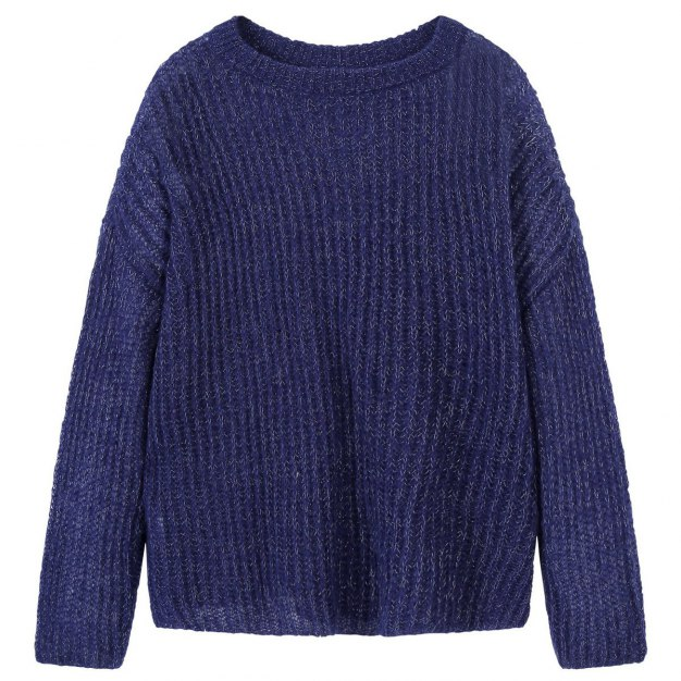 Plain Round Neck Long Sleeve Loose Women's Knitwear