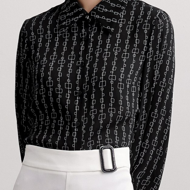 Square Neck Single Breasted Long Sleeve Women's Shirt