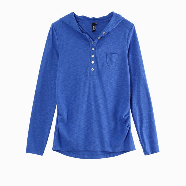 Blue Long Sleeve Fitted Women's T-Shirt