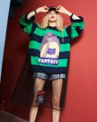 Round Neck Elastic Long Sleeve Loose Women's Sweatshirt