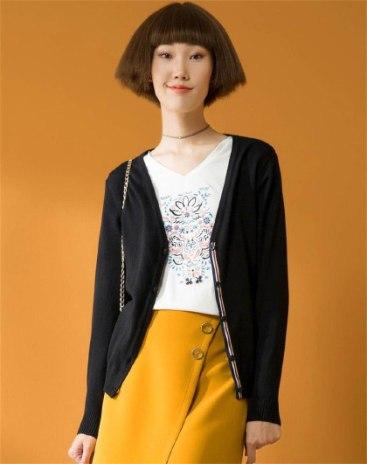 Black Plain V Neck Single Breasted Long Sleeve Women's Knitwear