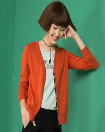 Red Plain V Neck Single Breasted Long Sleeve Women's Knitwear