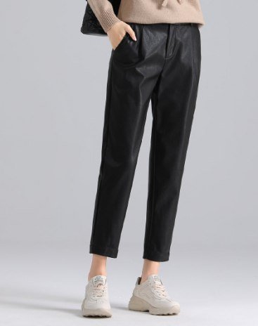 Black  Washed Cropped Women's  Pants