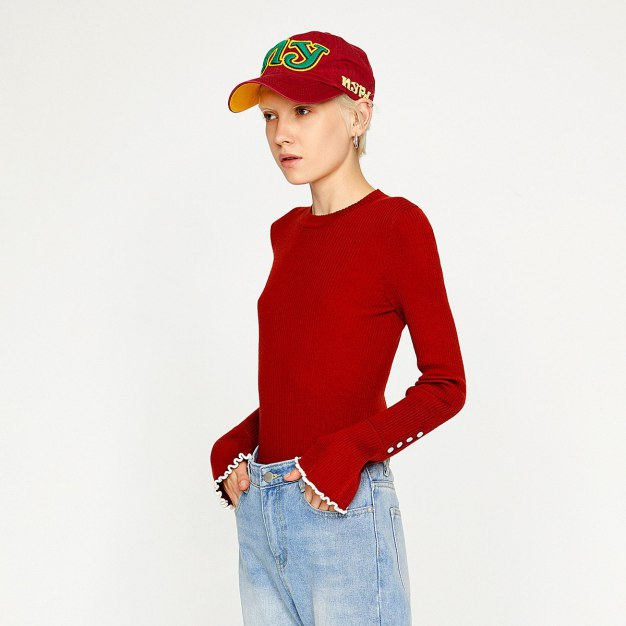 Red Round Neck Long Sleeve Fitted Women's Knitwear