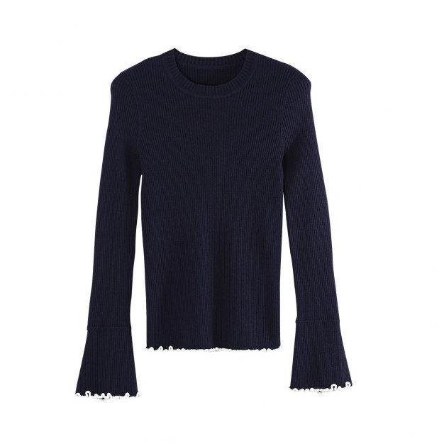 Blue Round Neck Long Sleeve Fitted Women's Knitwear