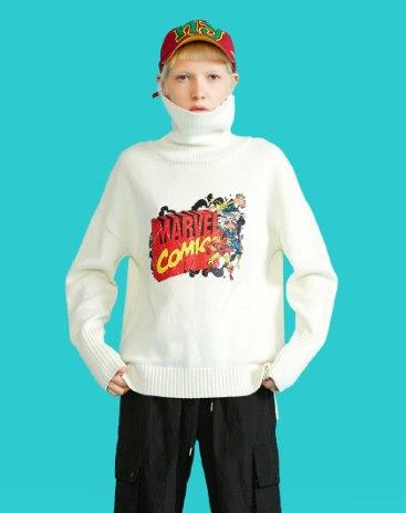 White High Neck Long Sleeve Women's Sweater