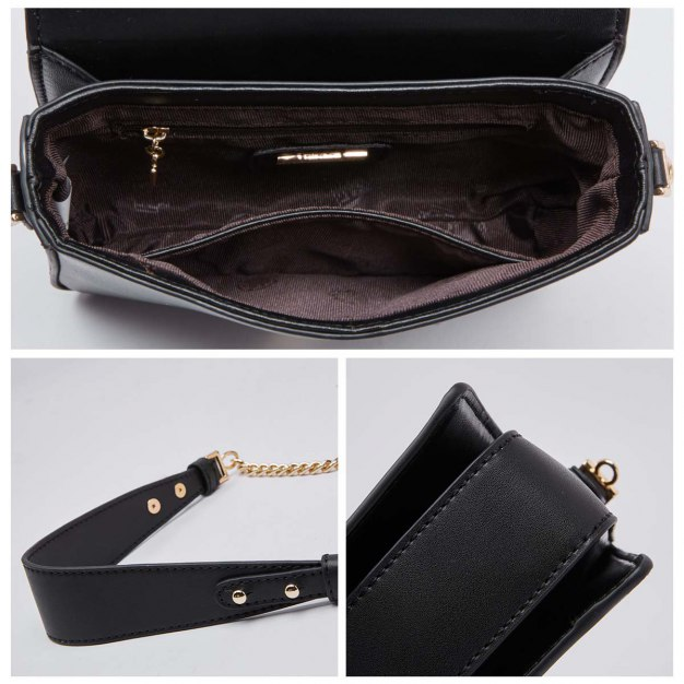 Black Cowhide Leather Small Women's Crossbody Bag