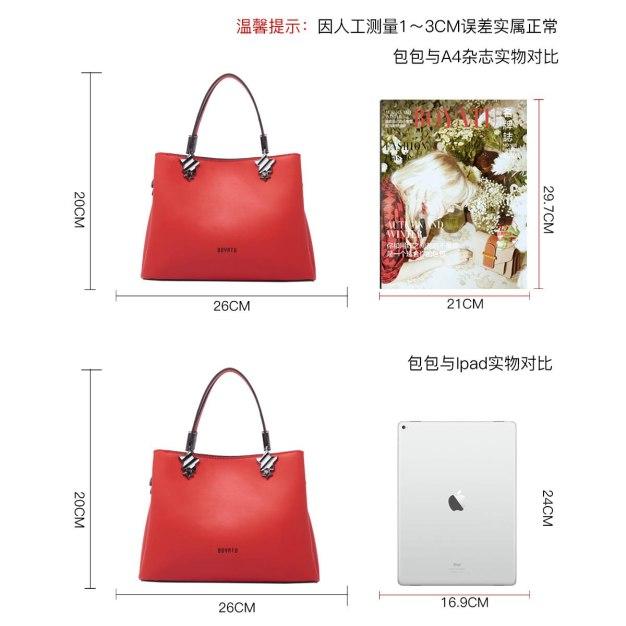 Red Plain Cowhide Leather Bucket Bag Medium Women's Tote