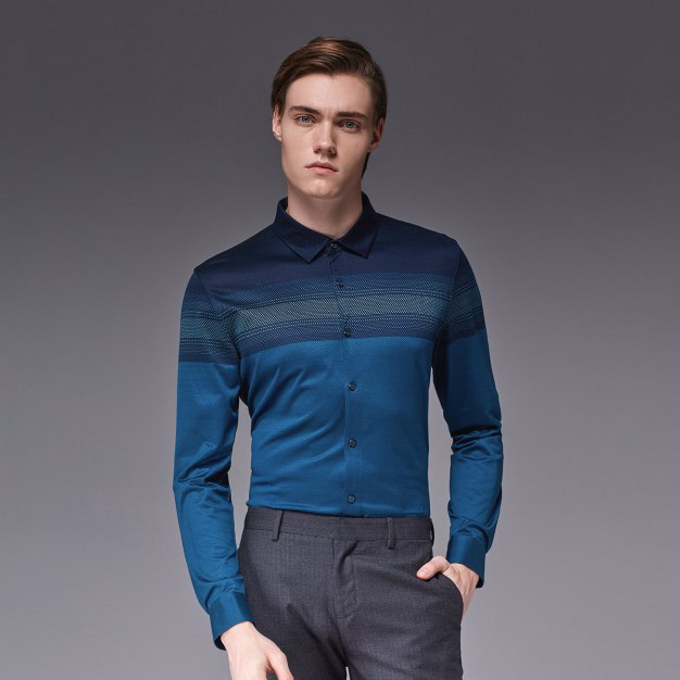 Green Dot Square Neck Long Sleeve Standard Men's Shirt