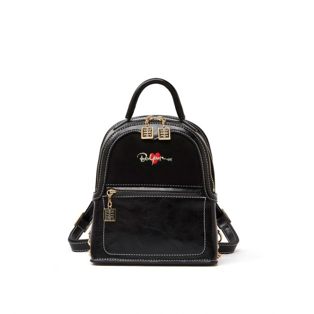 Black Cowhide Leather Small Heart Women's Backpack