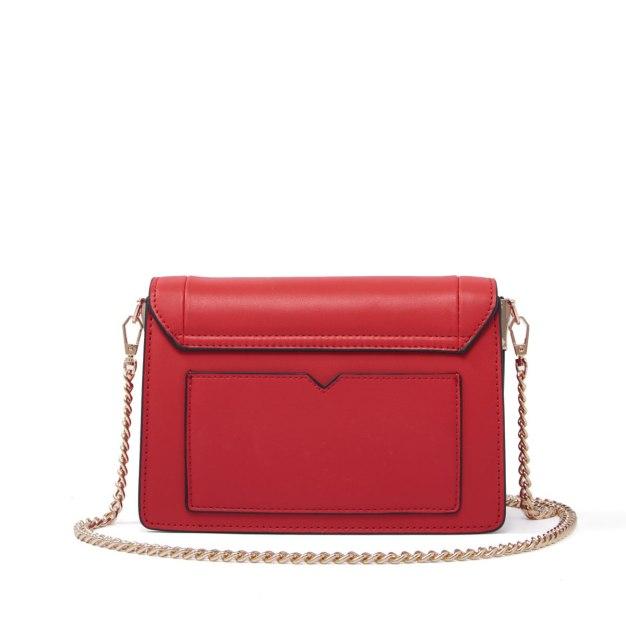 Red Plain Cowhide Leather Organ Bag Small Women's Crossbody Bag