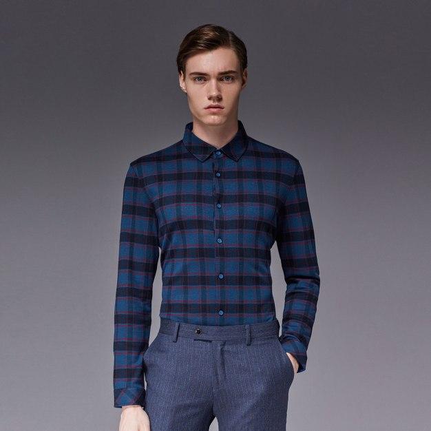 Green Square Neck Long Sleeve Standard Men's Shirt