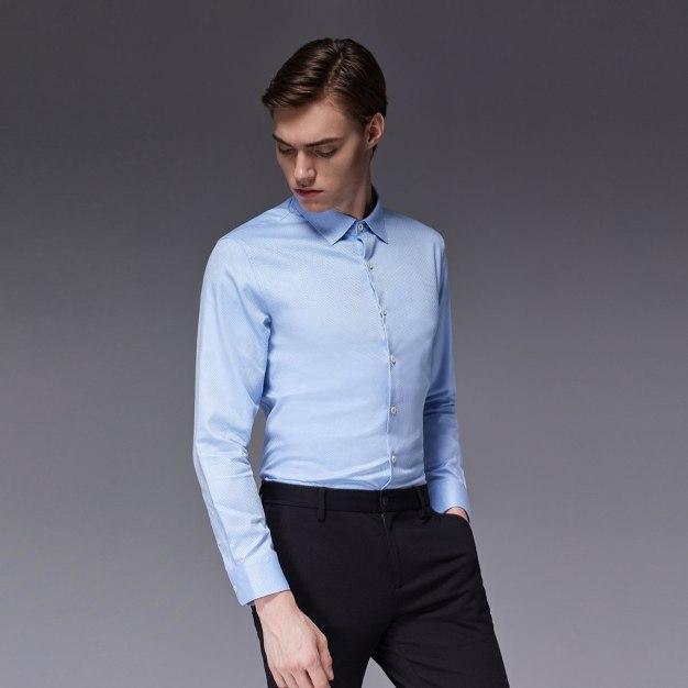 Blue Square Neck Long Sleeve Standard Men's Shirt