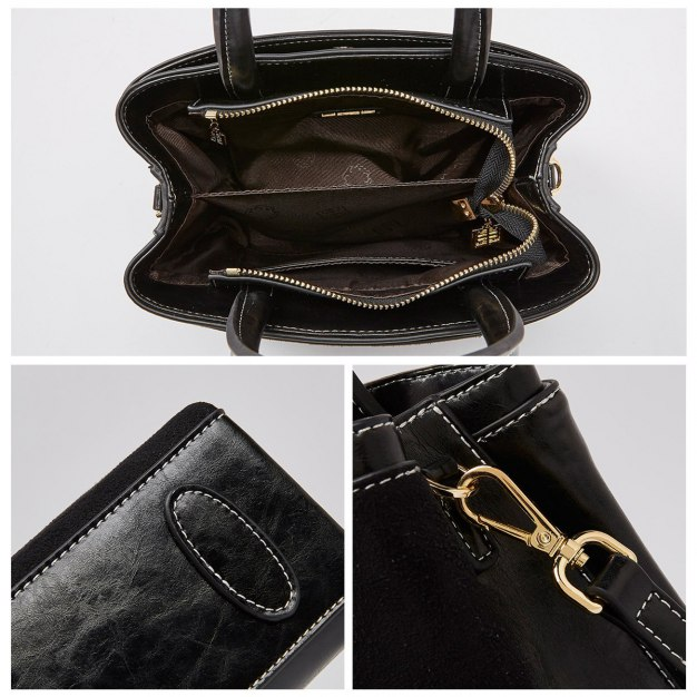 Black Heart Cowhide Leather Small Women's Tote