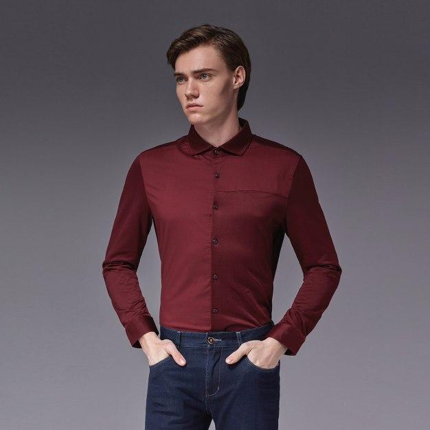Red Color Block Square Neck Long Sleeve Standard Men's Shirt