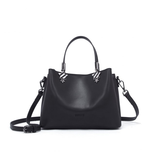 Black Plain Cowhide Leather Bucket Bag Medium Women's Tote