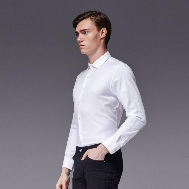 White Square Neck Long Sleeve Standard Men's Shirt