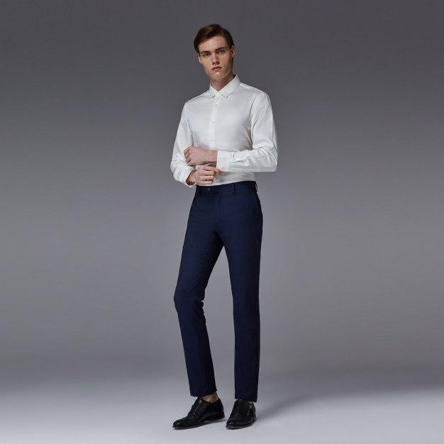 White Plain Square Neck Long Sleeve Standard Men's Shirt