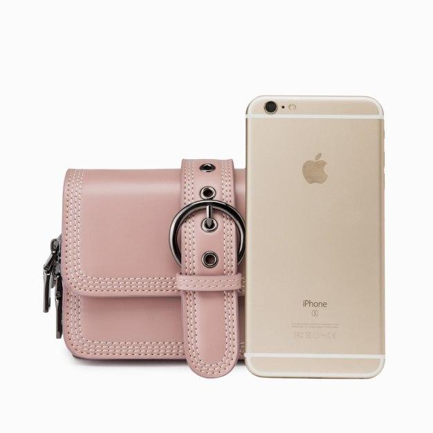 Pink Plain PU Organ Bag Mini Women's Crossbody Bag